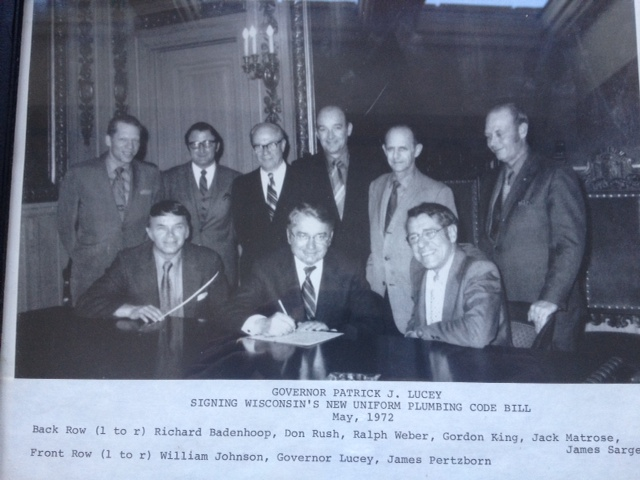 1972 Plumbing Code Bill of Wisconsin Signing With a Plumbing and Fire Protection Company